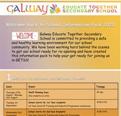 Back to School 2020 Parents Information Pack